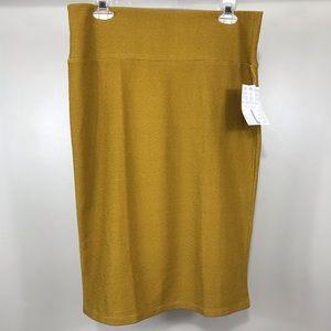 NWT Lularoe Cassie skirt yellow brown polkadot L